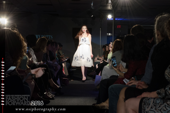 The Blue Willow Dress on the runway
