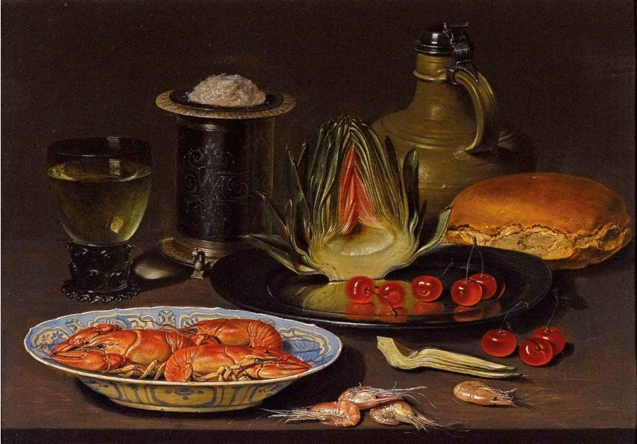 Clara_Peeters._Bodegon_con_alcachofa,_cangrejos_y_cerezas,_c.1618._Oil_on_board.jpg