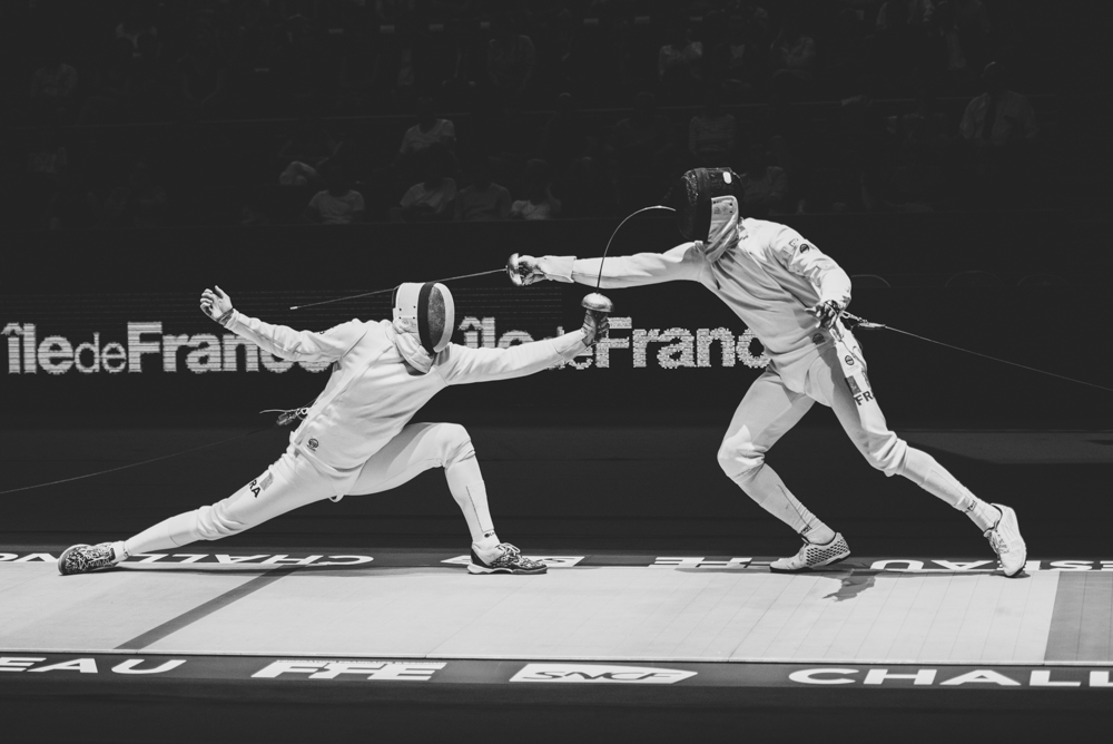 World Cup fencing championships being held in the stadium of Pierre de Coubertin in Paris on May 21, 2016