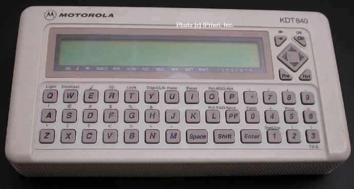 "The Motorola KDT-840, aka ""the brick"". Photo Credit: http://www.vatortrader.com/forums/ubbthreads.php?ubb=showflat&Number=4694"