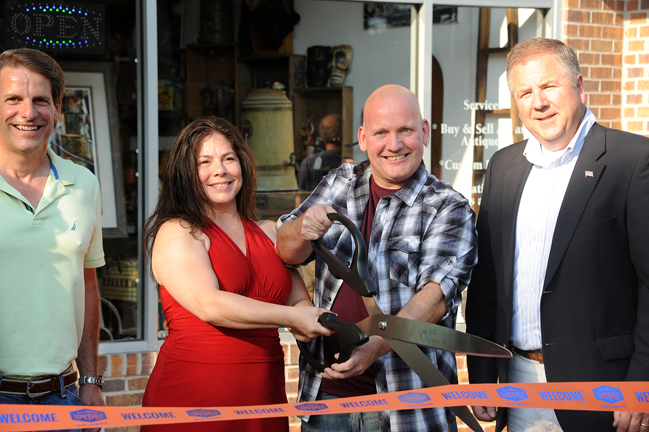 At our ribbon-cutting ceremony (left to right): Tom Genova, Board Chairperson of the Downtown Somerville Alliance; Gallery on Main proprietors Michelle Mundt and Shaun Daley; and Somerville Mayor Brian G. Gallagher. Photo © 2016 Dana Benner.