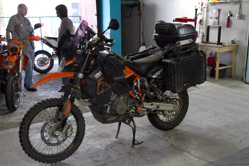 His enviable KTM 950SE