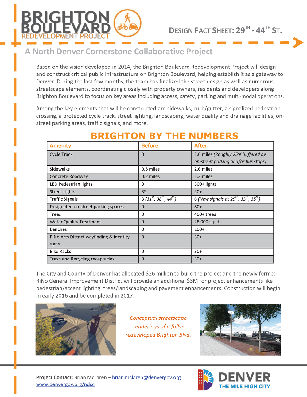 Brighton Boulevard Fact Sheet