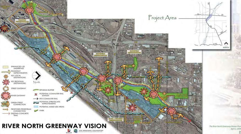 """City and County of Denver. """"The River North Greenway Master Plan."""" 02 Apr 2009. PDF. https://www.denvergov.org/Portals/747/documents/planning/master_plans/RINO_masterPlan.pdf [Downloaded on 20 Apr 2016]"""