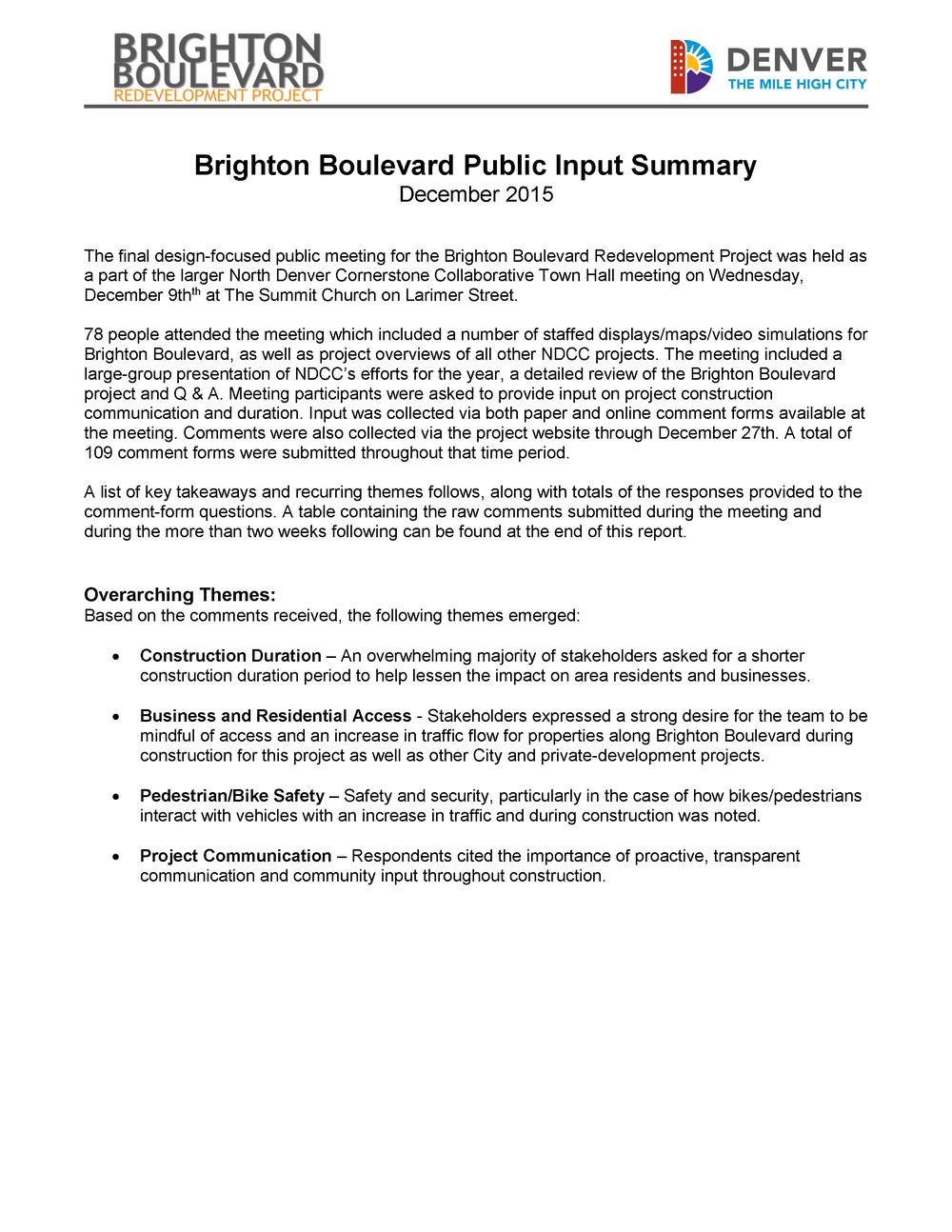 Dec '15 Public Input Summary
