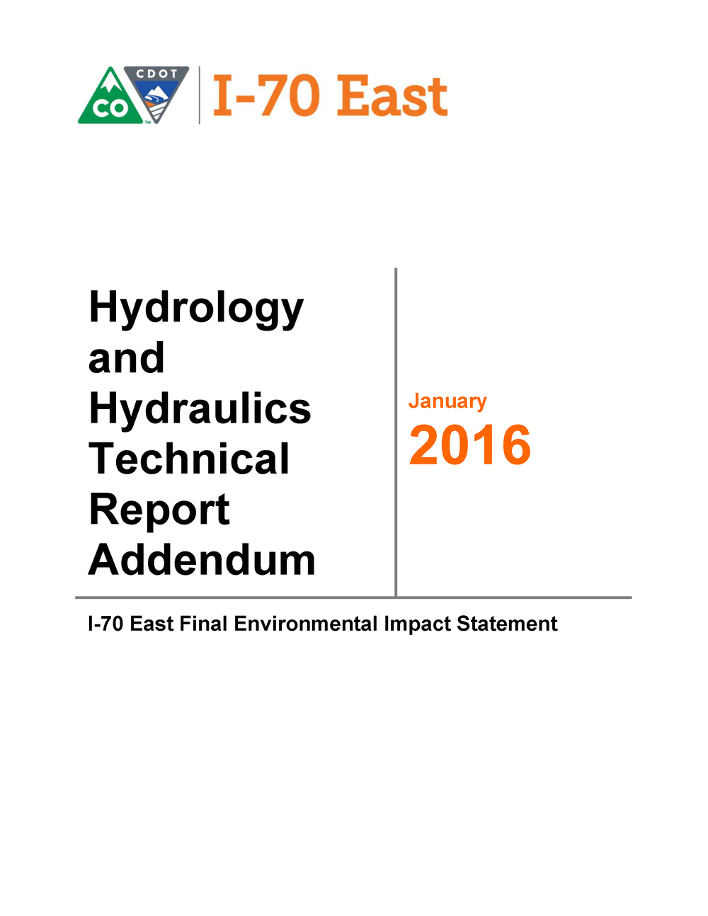 Hydrology & Hydraulics Report Addendum