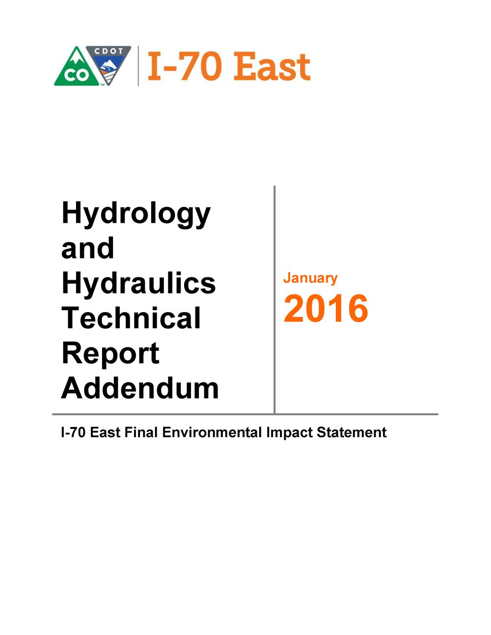 Hydrology & Hydraulics Report Addendum