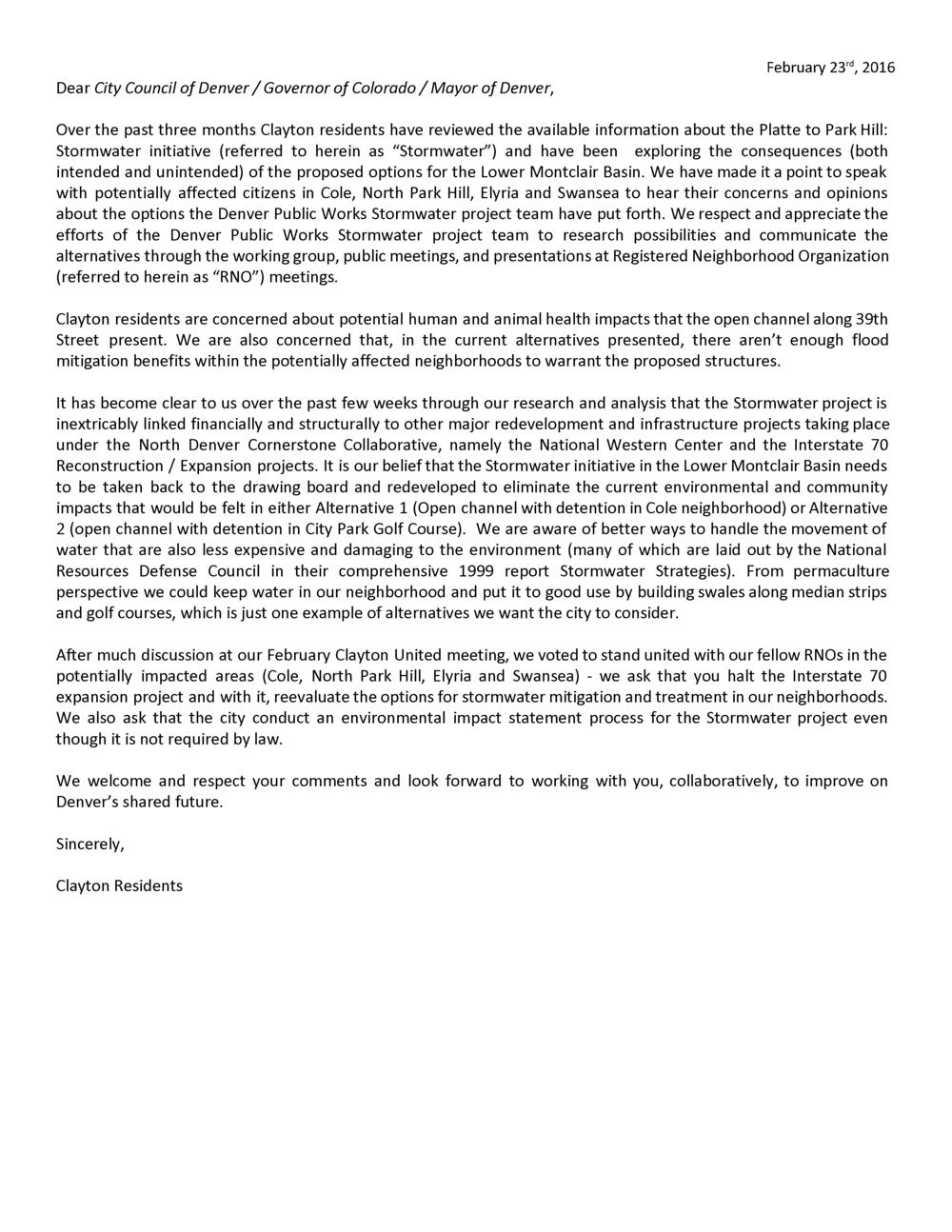 """""""Community Letter"""""""