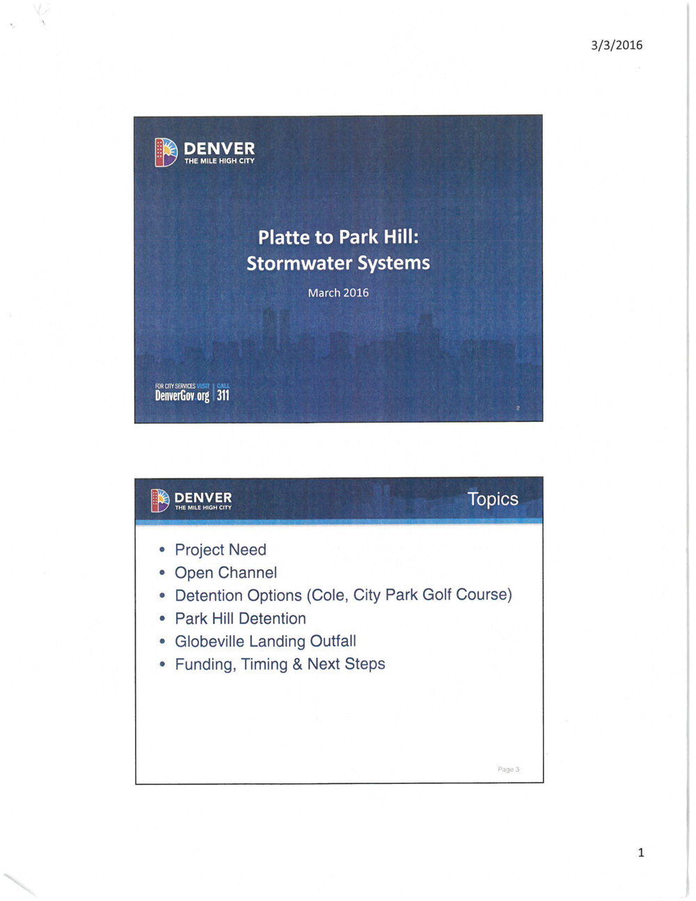 Platte to Park Hill Stormwater Systems