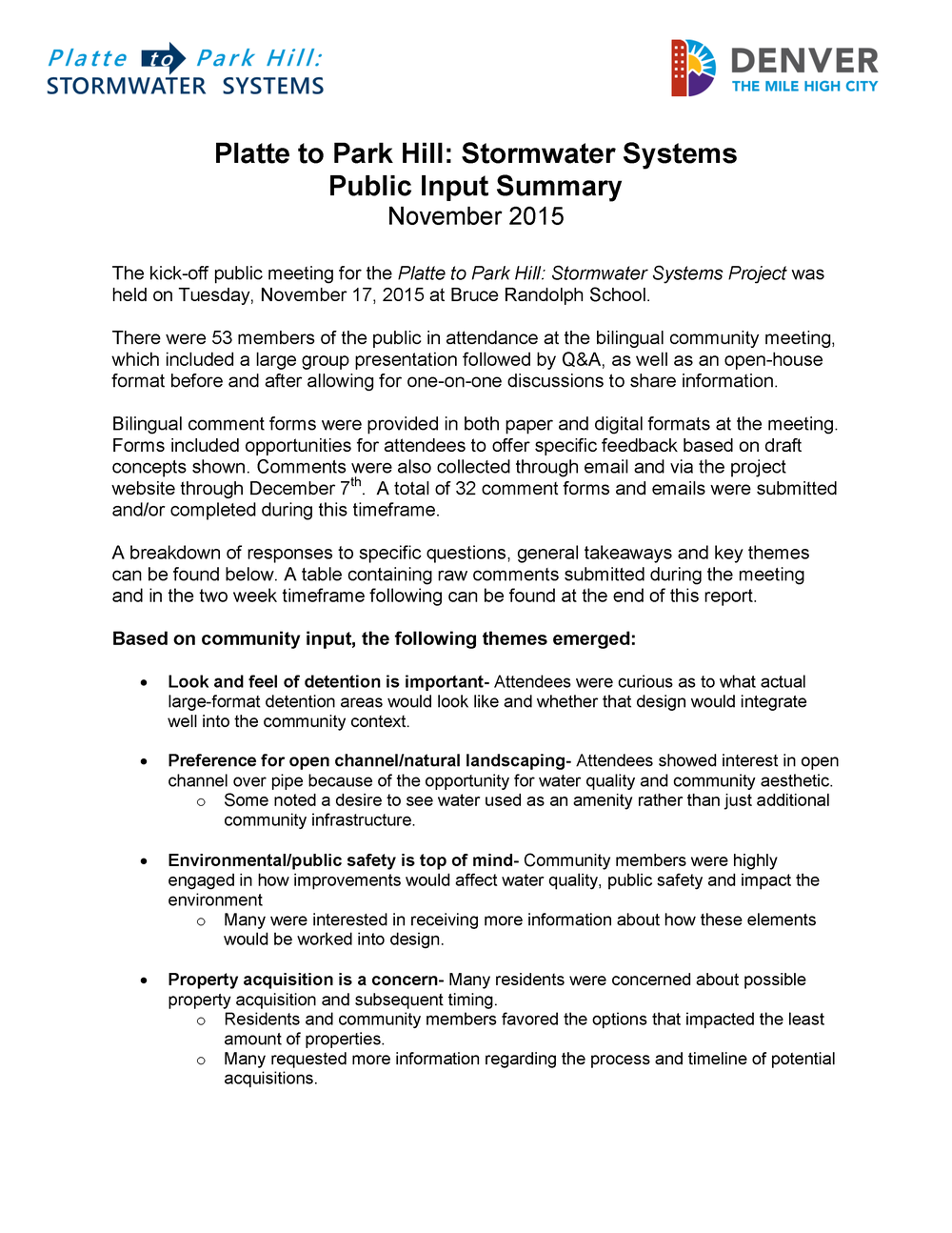 Stormwater Systems Public Input