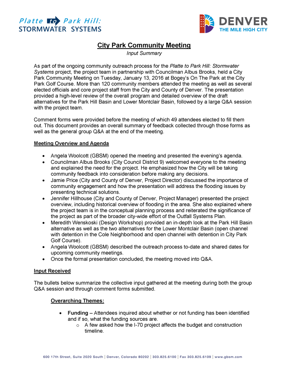 Stormwater Commmunity Input Summary