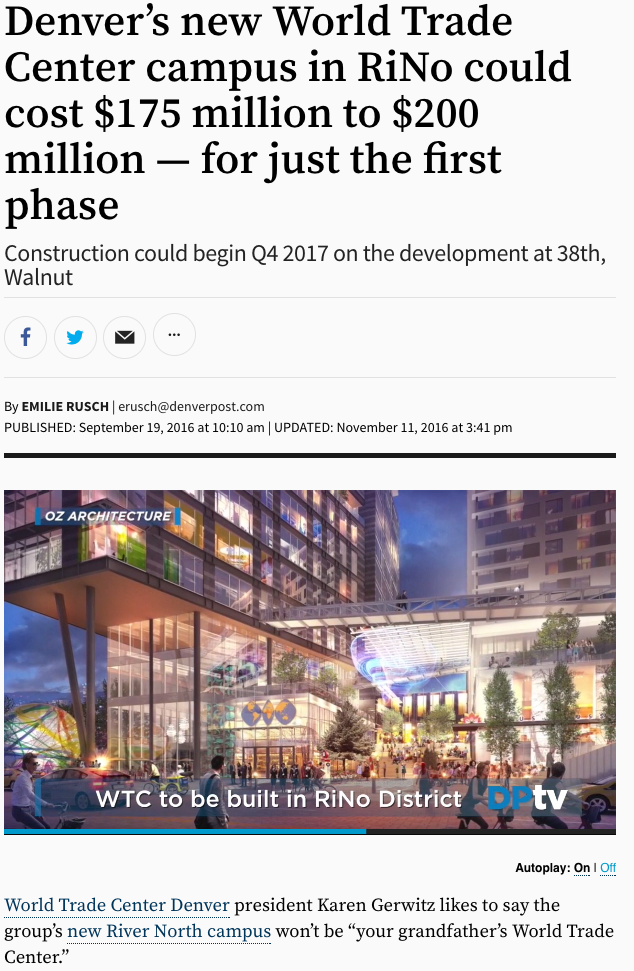 Denver's new World Trade Center campus in RiNo could cost $175 million to $200 million - for just the first phase