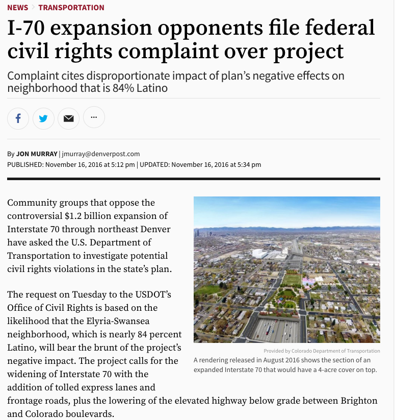 I-70 expansion opponents file federal civil rights complaint over project