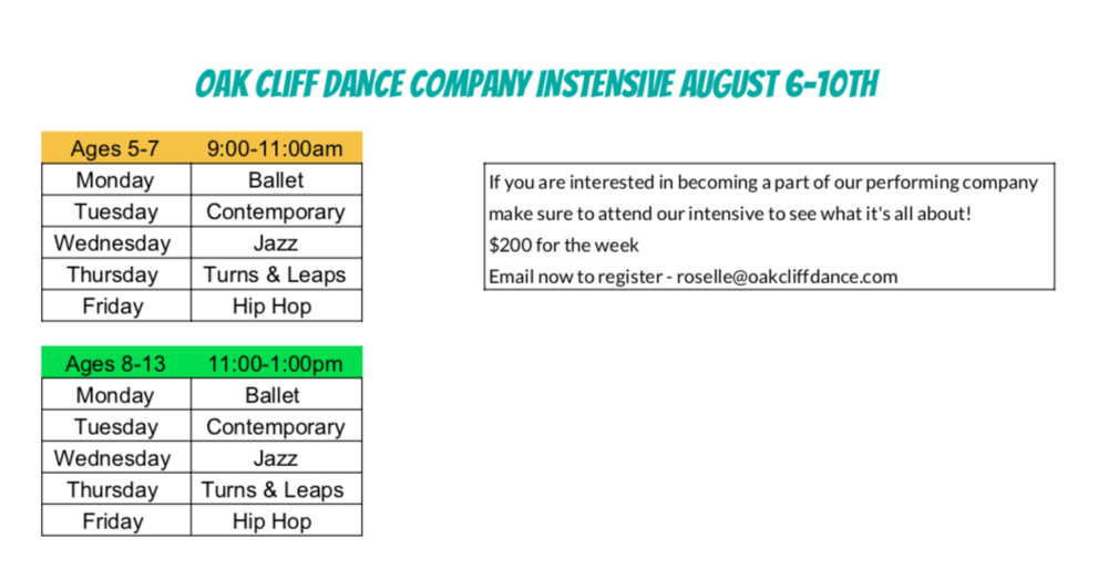 *If you would like more information please call or email 817-454-0268 or roselle@oakcliffdance.com