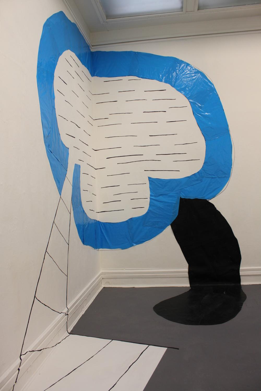 Wall drawing XXIV (For Guston), detail, rubble sacks, rubber flooring, marker pen, emulsion paint, masking tape, 380cm x 200cm x 300cm, 2012