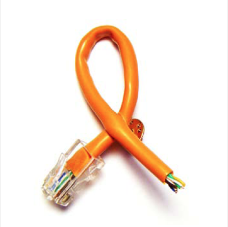 the wireless awareness ribbon.  made from a cut ethernet cable and worn by geek squad agents. it was the most successful conversation starter in geek squad history.