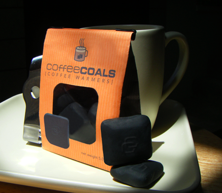 "i had this idea for a product after throwing out my 3rd cup of cold coffee of the day. these ""coals"" are microwaveable, non-toxic coffee heaters that keep your coffee warm from the inside out."