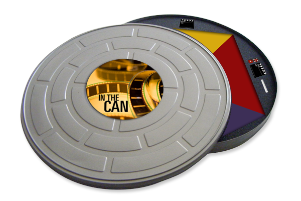 the game is packaged in a film reel tin.