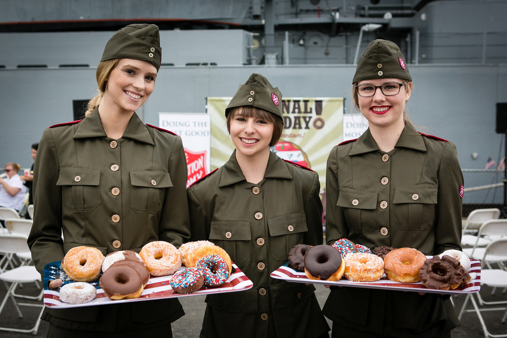 "The Salvation Army still observes National Donut Day, June 3, which commemorates how Salvation Army ""lassies"" introduced donuts to troops fighting during World War I.  (Photo credit: Salvation Army USA West, taken June 3, 2016 at the USS Iowa Battleship Museum in Los Angeles.)"