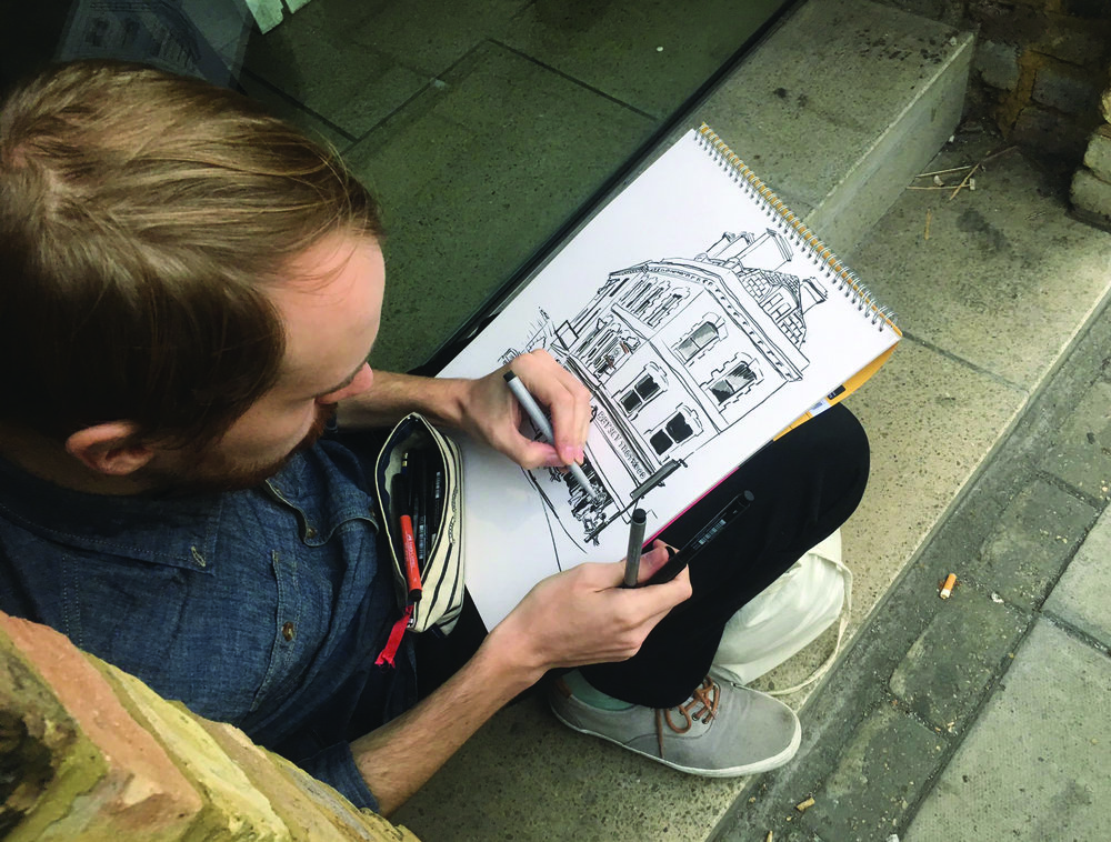 Drawing on location - I've been hired to sketch at corporate events, concerts, and private parties, as well as commissioned to draw commercial and private properties, usually done entirely on site.I've been a member of Urban Sketchers since 2012.Most of my location drawings I share on Instagram and Flickr.