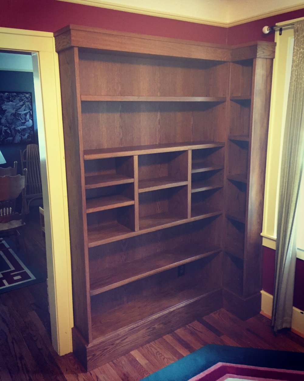Completed white oak bookshelves installed. Pleasant Ridge, MI