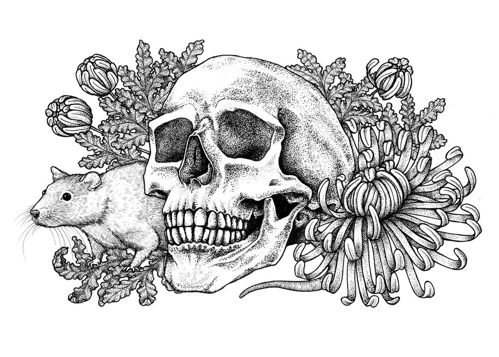 Skull + Rat + Chrysanthemum