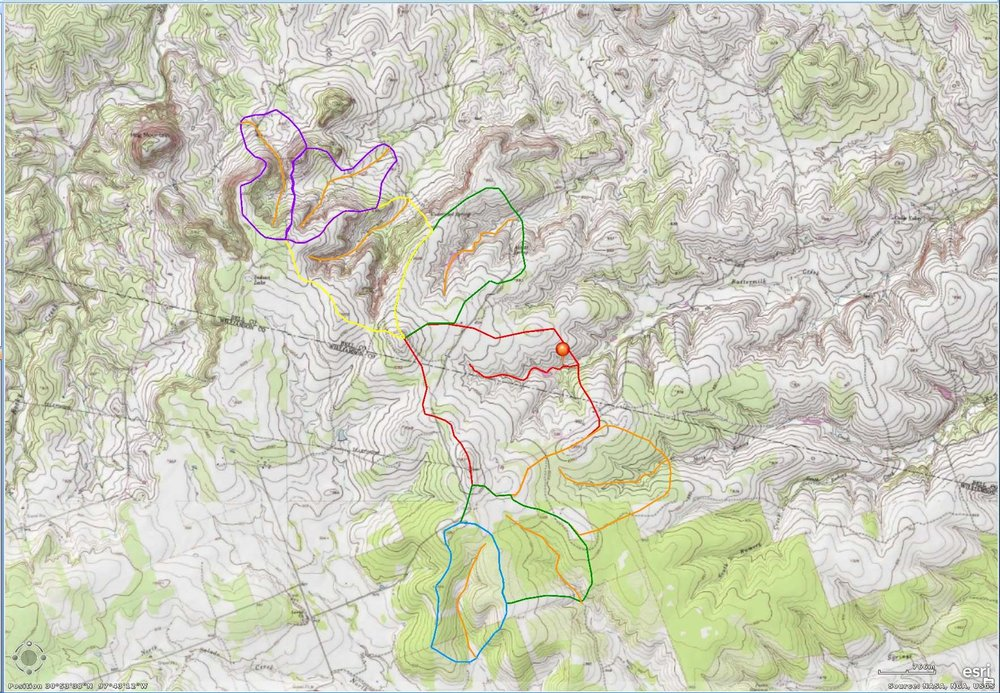 Figure       SEQ Figure \* ARABIC    4      : Watersheds of the uppermost 1.7km of streams in the Gault area. The Gault site is marked with a pin. Note the greater stream incision of the northern watersheds.