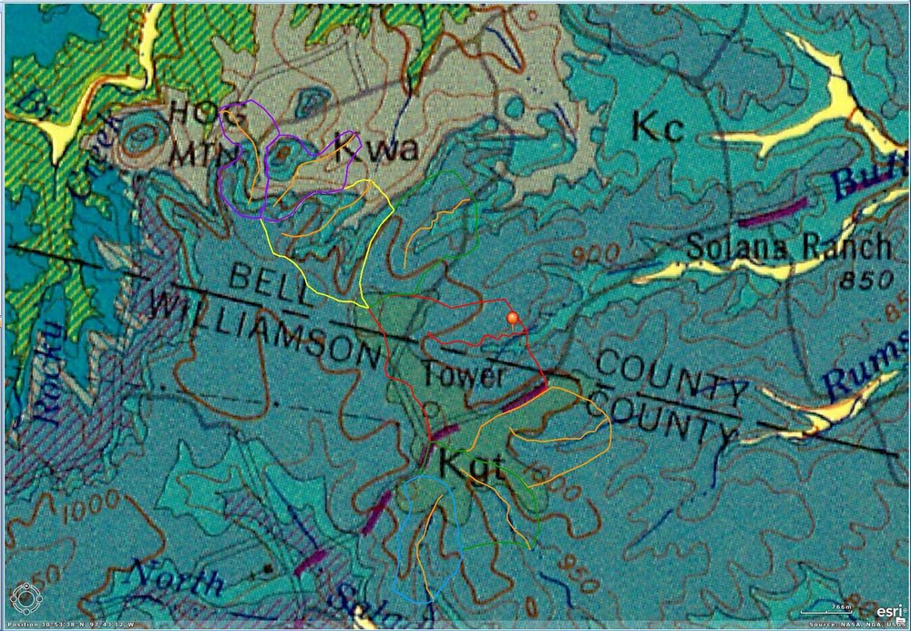 Figure       SEQ Figure \* ARABIC    5      :  Watersheds near the Gault site superimposed on the Austin 1x2 degree AMS Geological map. The Gault site is marked with a pin, and its watershed outlined in red. Note that it includes a large part of the Georgetown limestone outcrop, and only a very minor area of Comanche Peak, so that drainage through the site is largely underground.