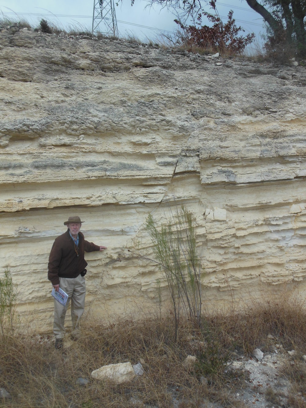 Photo of horse and graben structure in the Edwards Group. Photo by John Berry. Chock Woodruff for scale.