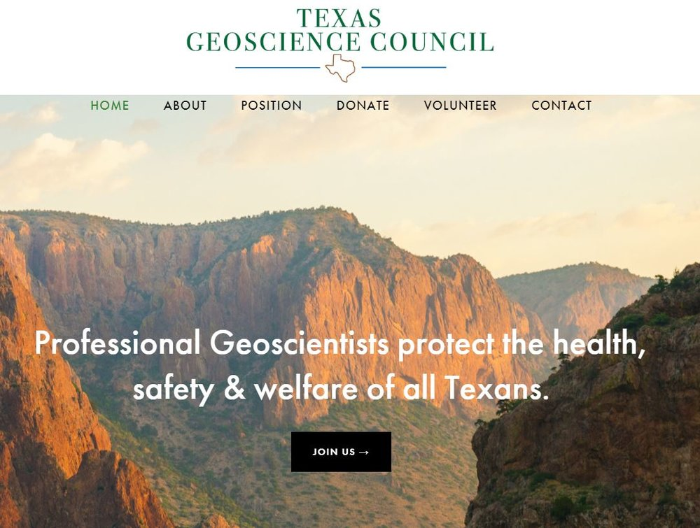 Web page of the Texas Geoscience Council.  https://www.txgeoscience.org/