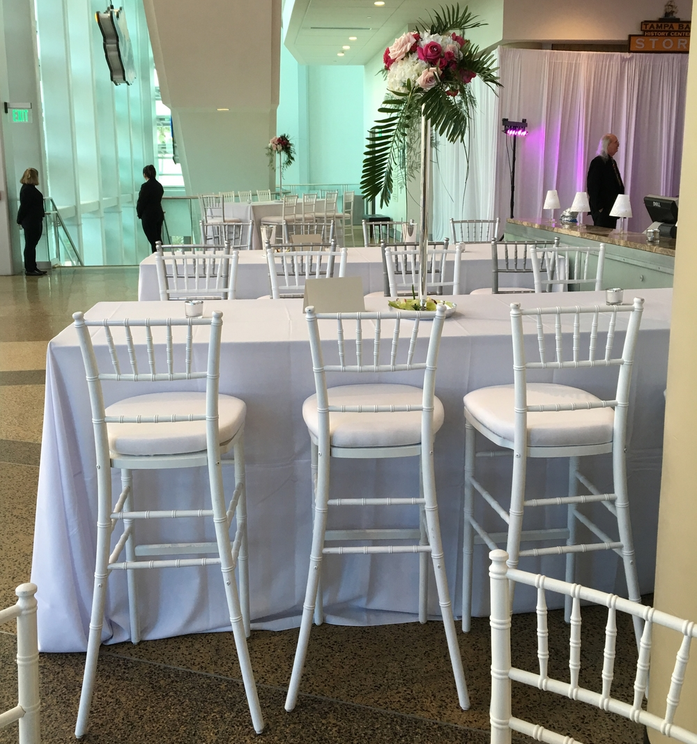 White Chiavari Barstools with White Signature Cushions