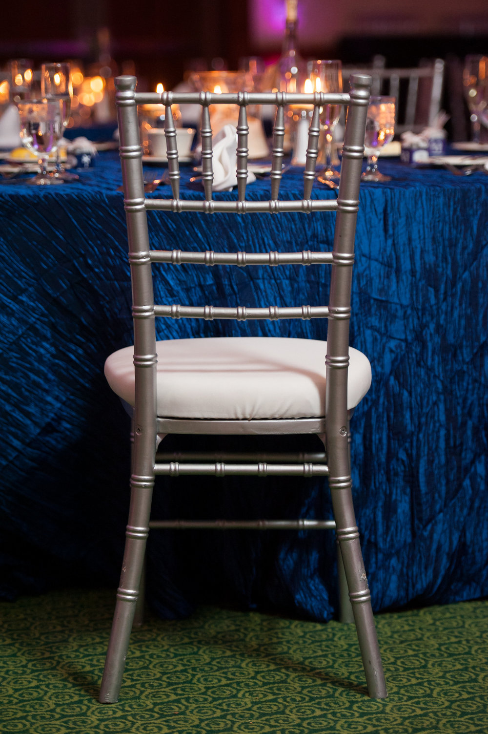 Silver Chiavari & White Cushion