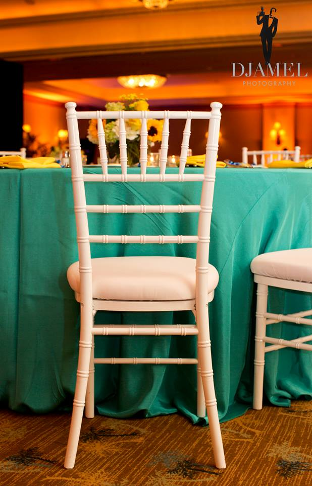 White Chiavari & White Cushion