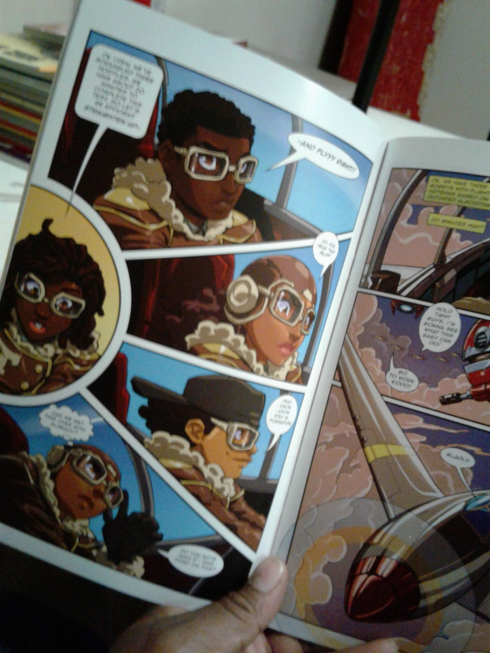 Tuskegee Heirs Comicbook interior. Young pilots flying planes that turn into robots.