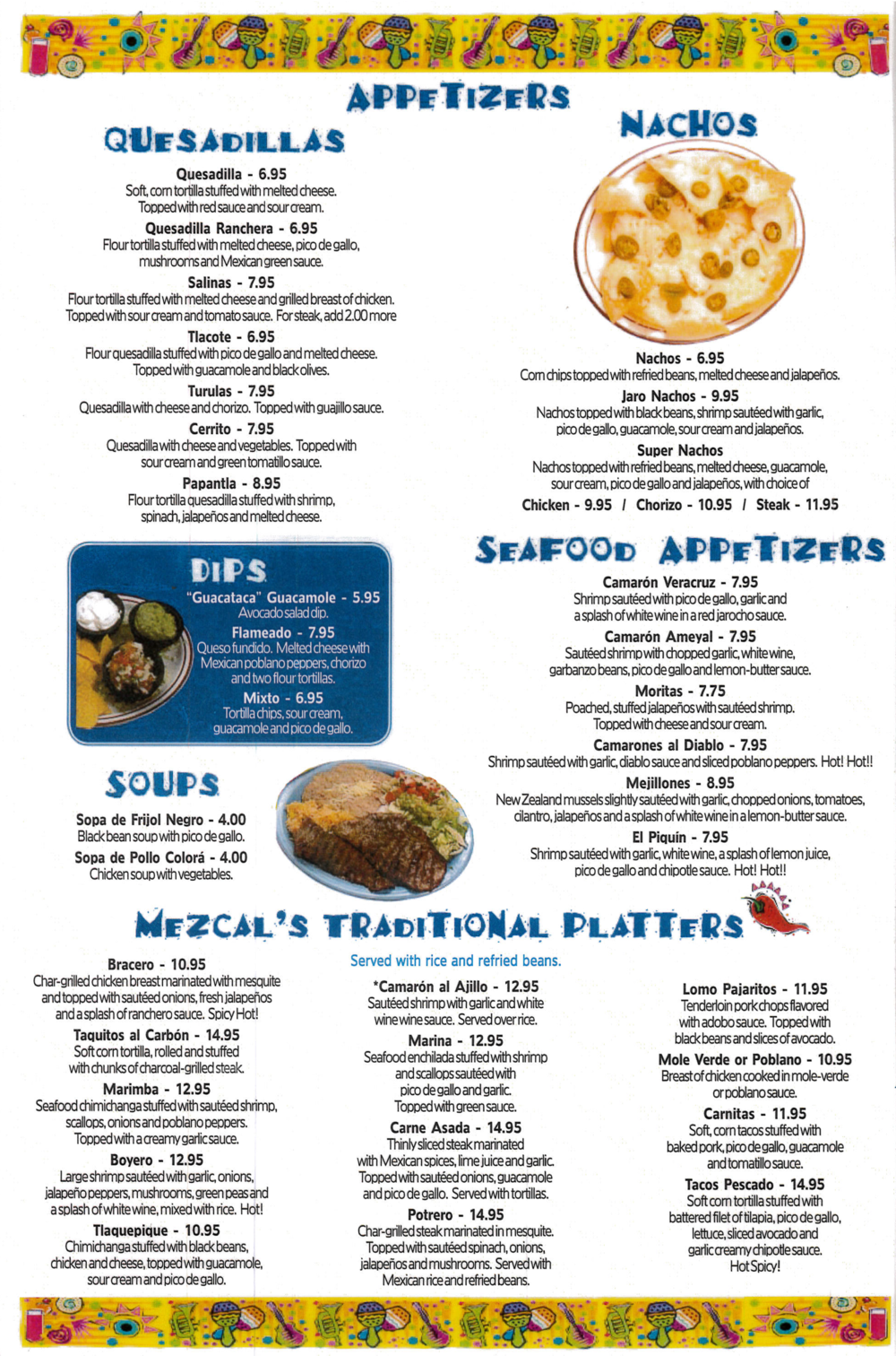 Mezcals Mexican Menu