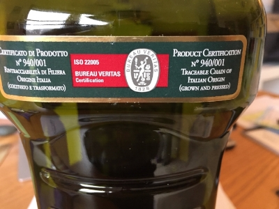 This is the back label, which again certifies that the olives were grown and pressed in Italy