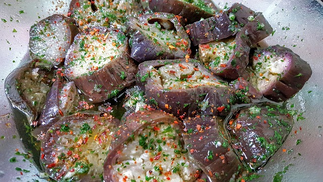 Marinated eggplant with skin on