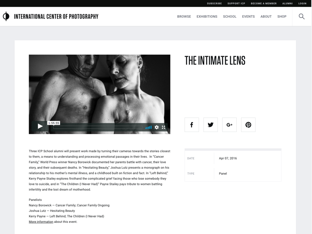 """CLICK TO PLAY.  Guest Presenter, International Center of Photography, NYC: """"The Intimate Lens"""" with Kerry Payne Stailey, Joshua Lutz and Nancy Borowitz. ."""
