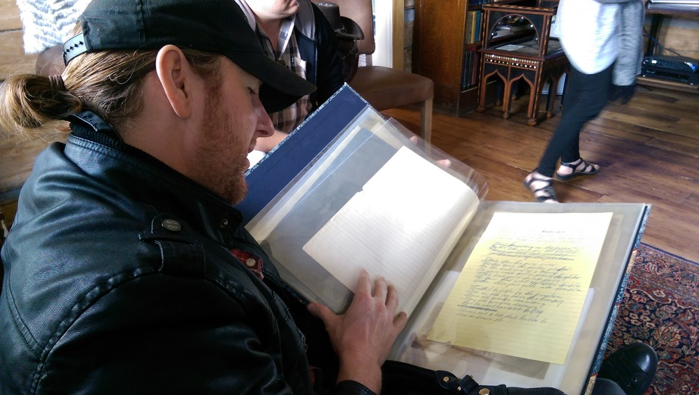 Viewing Johnny Cash's handwritten lyrics for Saturday Night In Hickman County