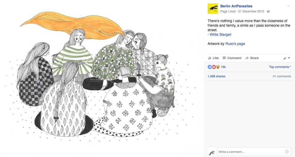 One of the most popular art blogs, Berlin ArtParasites featured my drawing! A great gift to start a great year! / 2015