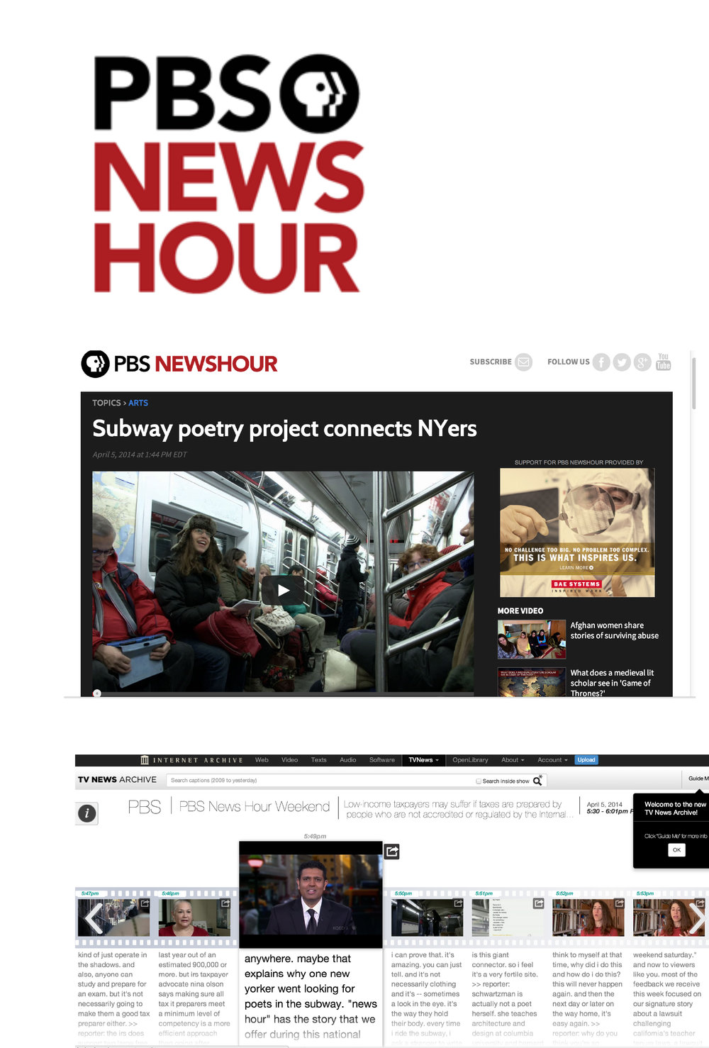 Poems by New Yorkers on PBS Weekend News Hour