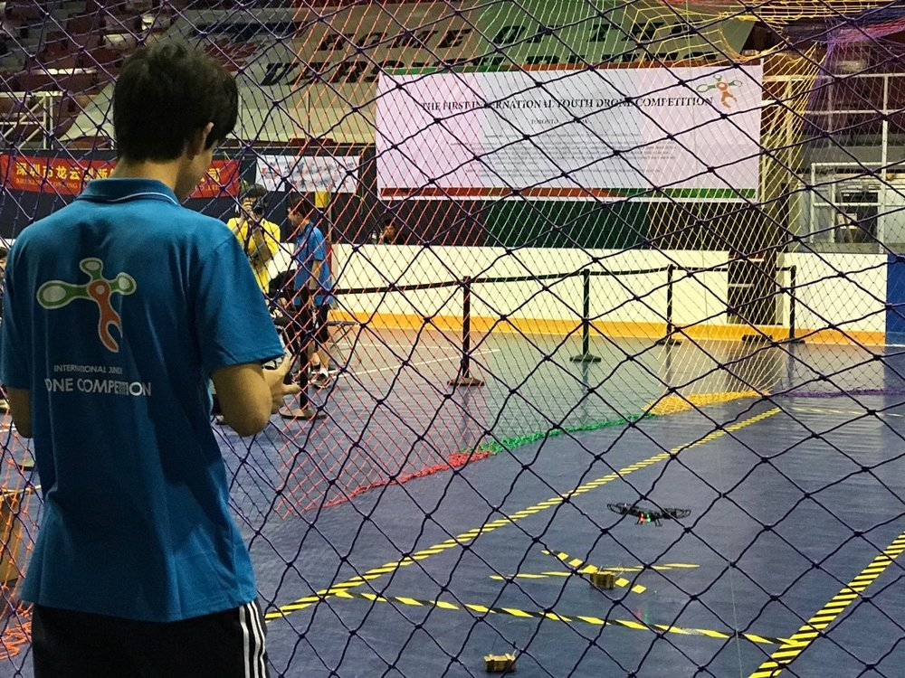 The final competition took place at Varsity Arena on August 5th. There were total 9 teams, participating two events: hoop jumping and drone curling. After intensive competitions among teams, the winner isthe team consisting of Mr. Jonathan Lin, Janet Cheng,and Rayce E.