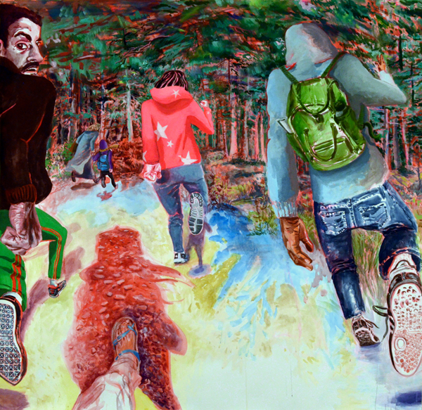 Runners , 2016, Acrylic on paper, 59 x 61 inches