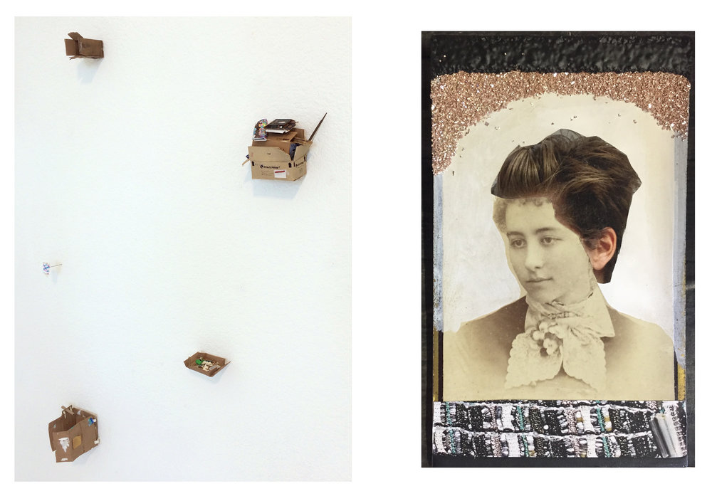Left: Rachel Grobstein, installation view, 2017. Dimension variable. Gouache, paper, balsa, and pvc. Right: Margaret Meehan,  Every Woman Alive , 2017. 4 x 2 1/2 inches / 10.2 x 6.3 cm. Collaged cabinet card with Chanel advertisement, paint, and glitter glass.