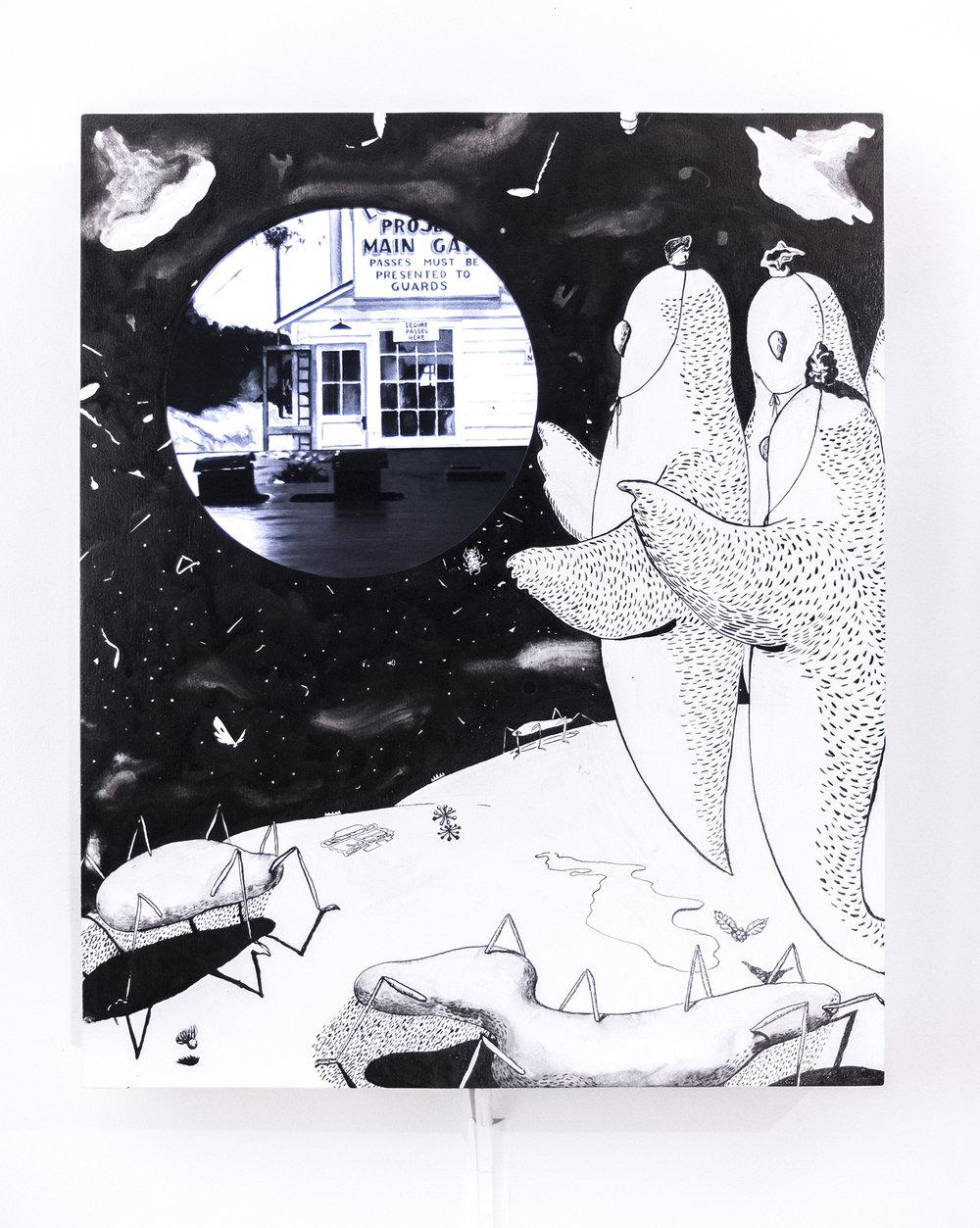 Gaku Tsutaja,  Estudio con la Luna,  2019. tinta Sumi, pintura de casas, reproductor de medios, monitor y altavoz 29 x 24 x 2 1/2 pulgadas / 73.7 x 61.0 x 6.4 cm