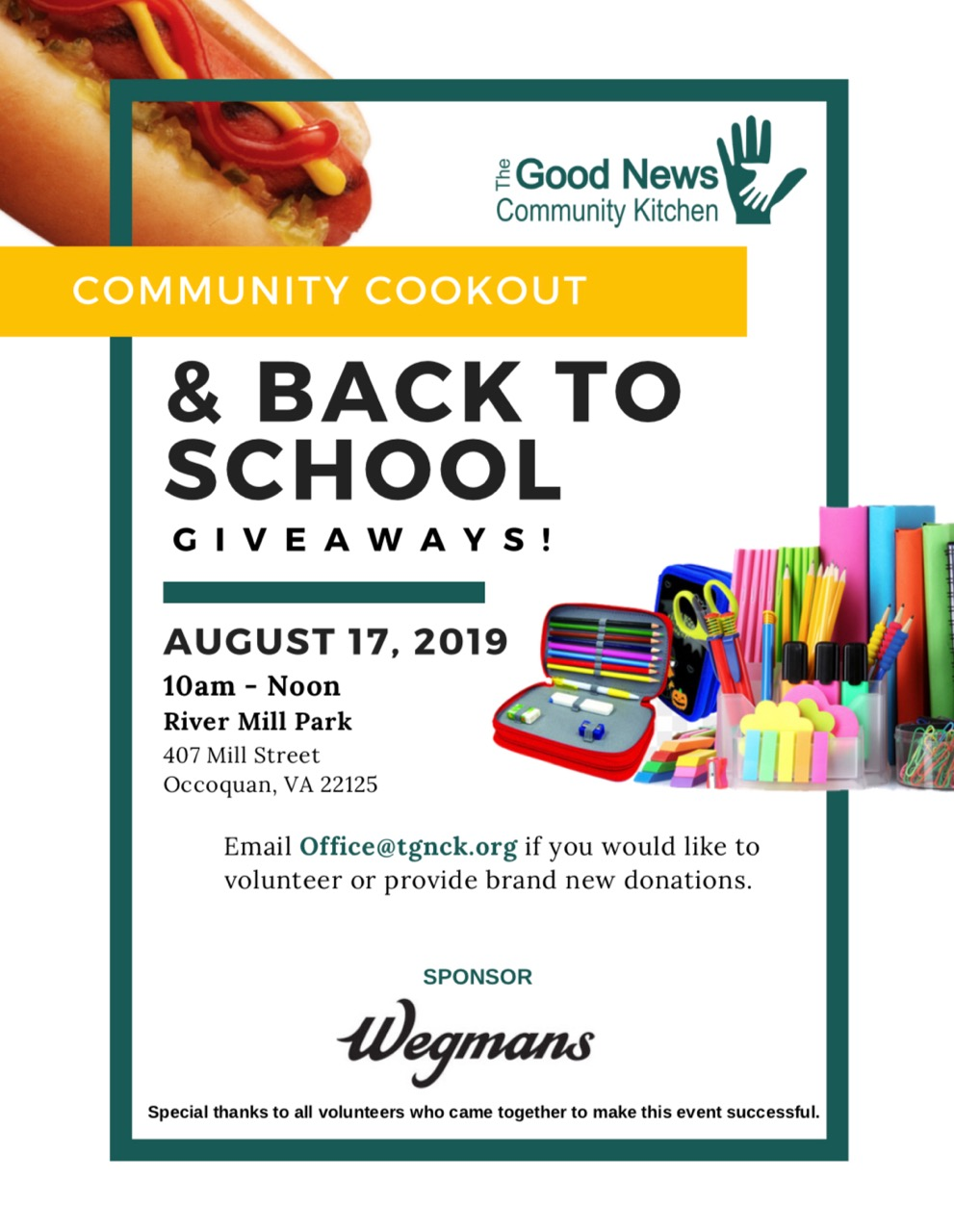 TGNCK Back to School Community Cook Out and Supply Give Away — The