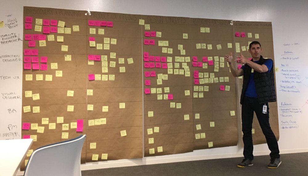 IMAGE: Explaining the UX process to stakeholders using the completed service blueprint.