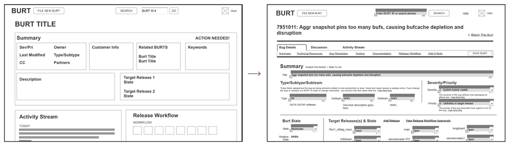 Detail page prototype low-fidelity (left) and high-fidelity (right) wireframes