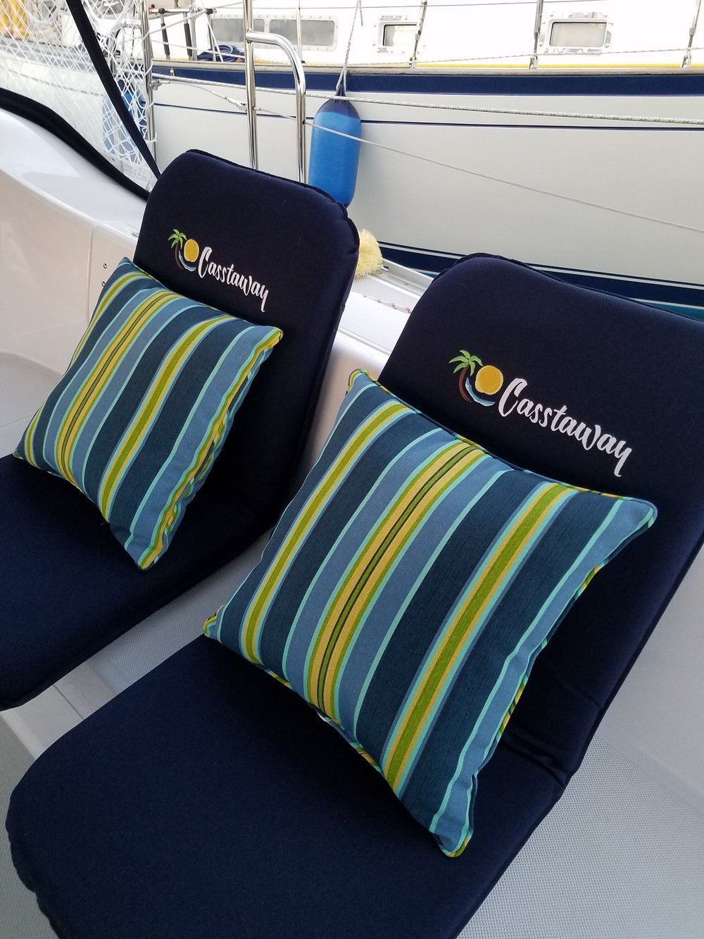 We love our new Sport-a-Seats! They are so comfortable, sturdy and well-made, and they look awesome. The logo embroidery is really sharp and gives them an extra punch. We have had so many compliments from our dock mates.   Todd and Tanya C.