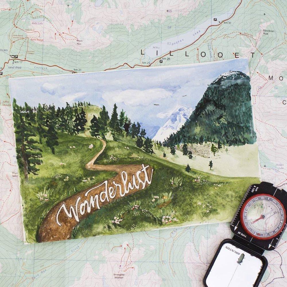 Wanderlust. Watercolour & masquepen.